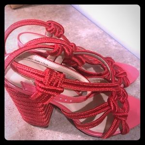 Red Cabi Block-heeled Sandals Sz6 EUC!